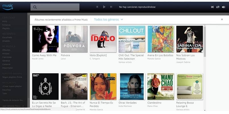 pantalla de interface de amazon prime music
