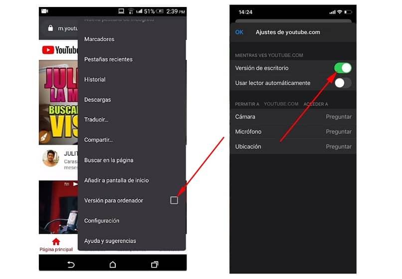 version de escritorio en android y en iphone
