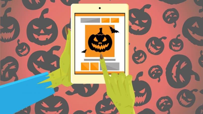 dispositivo con aplicacion de halloween