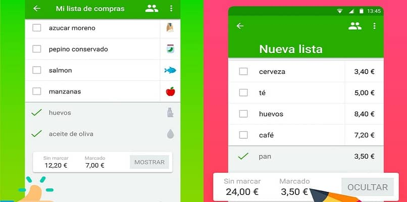 interfaz aplicacion movil tu lista compras