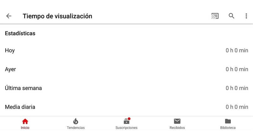 tiempo de visualizacion en la app de youtube