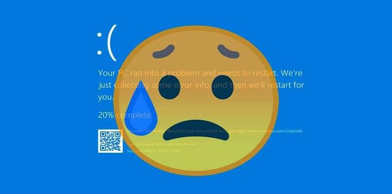 emoji cara triste fondo error pantalla azul