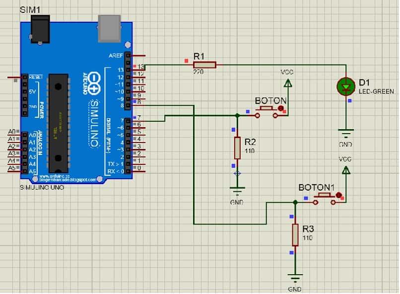 conexion para controlar luz led en arduino mediante dos pulsadores