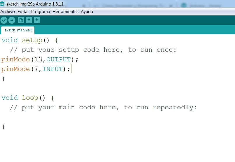 view the input and output pin configuration in the arduino software