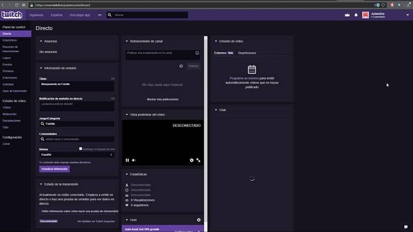 Configurar panel de control twitch