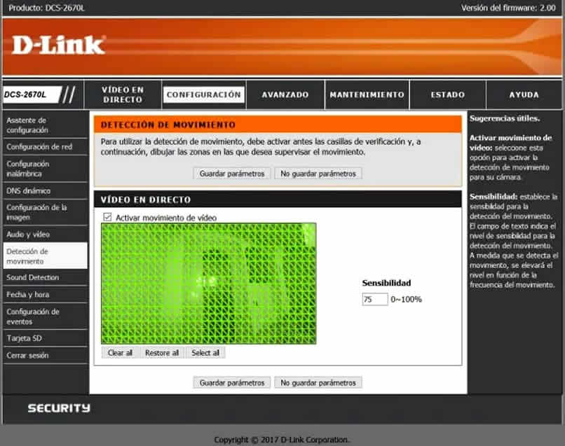configuracion de deteccion de movimiento en d link dcs 2670l