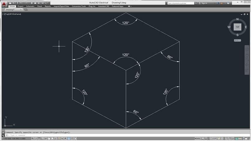 dibujo de un cubo con los grados indicados