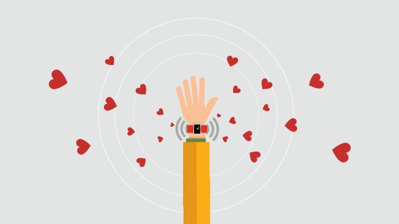 dibujo de corazones y smartwatch en brazo