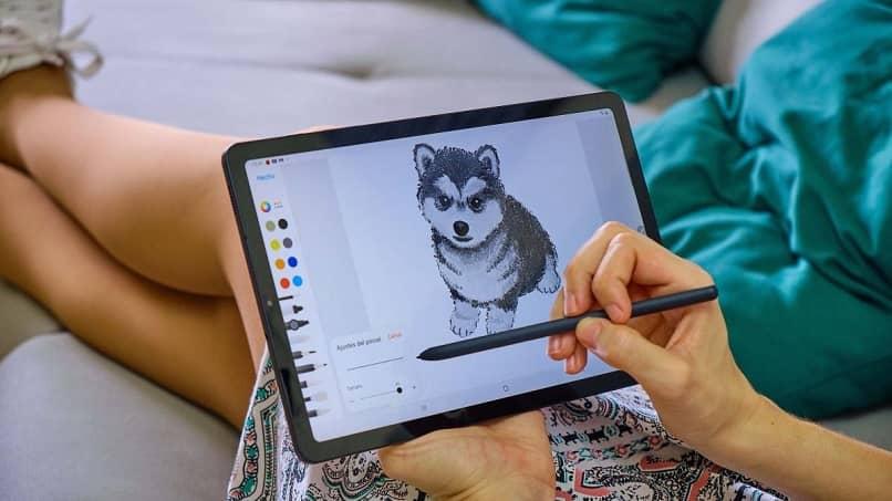dibujo de lobo tablet galaxy tab