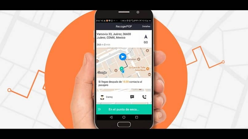 mapa de viaje en la aplicacion de didi conductor