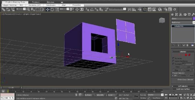cuadrado morado en un plano de diseño del programa studio max 3d