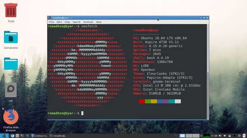 aplicando programa neofetch en linux ubuntu
