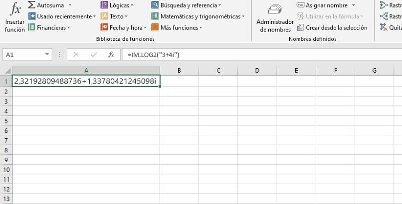 ejemplo de funcion imlog2 en excel