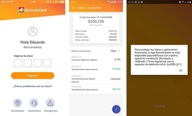 app de banco estado dando el error ua599