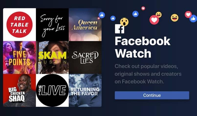 la aplicacion del facebook watch en el smart tv