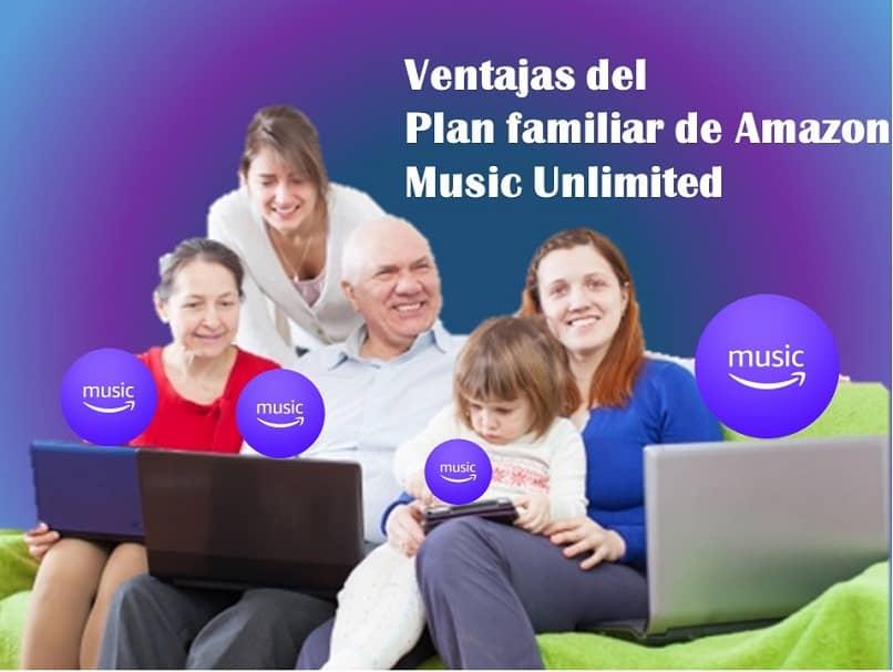 familia feliz disfrutando de los servicios de amazon music unlimited
