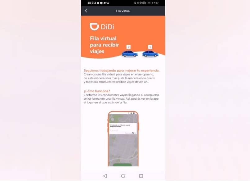 captura de pantalla de la fila virtual en la app didi