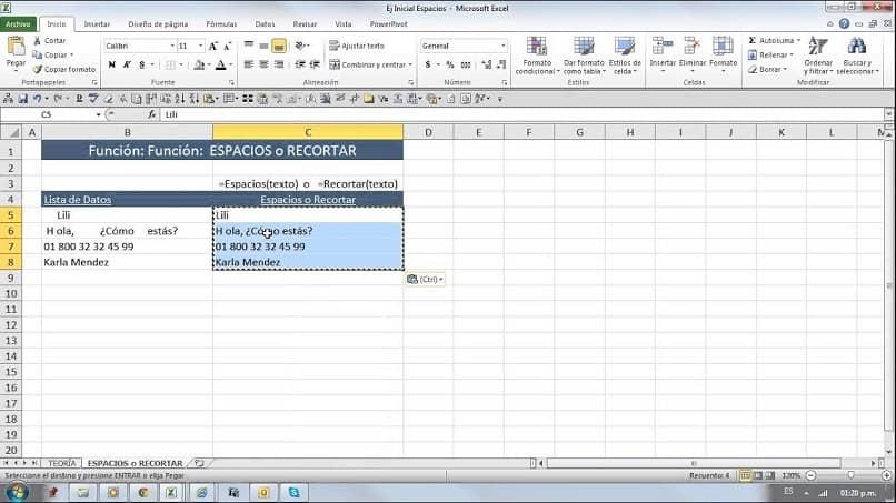 Excel boşlukları işlevi
