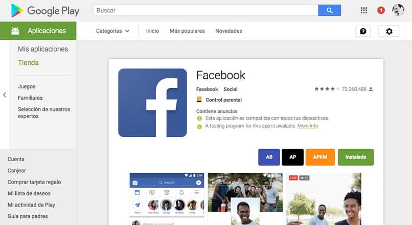 google play store sitio web descargar app facebook
