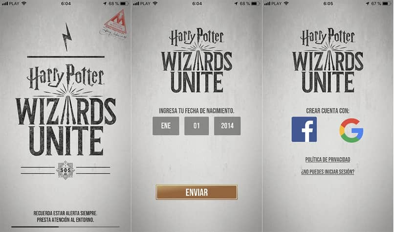iniciar sesion harry potter wizards unite