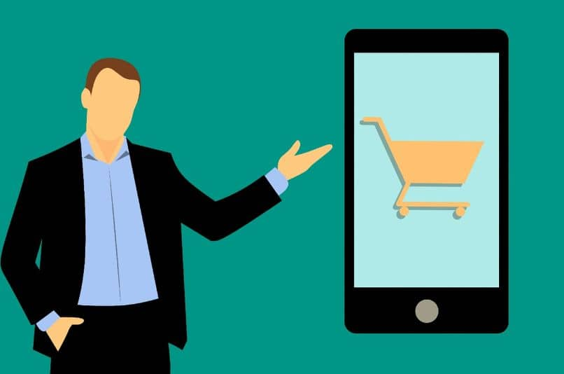 drawing of man with smartphone and online shopping