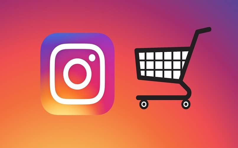 carrito de compras y logo de instagram