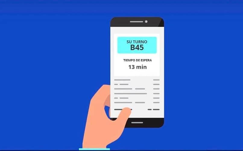 ilustracion de una fila virtual en el telefono movil