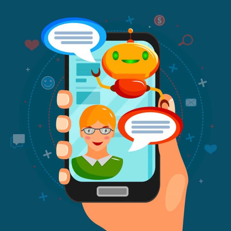 ilustracion de un robot y un hombre dentro de un telefono