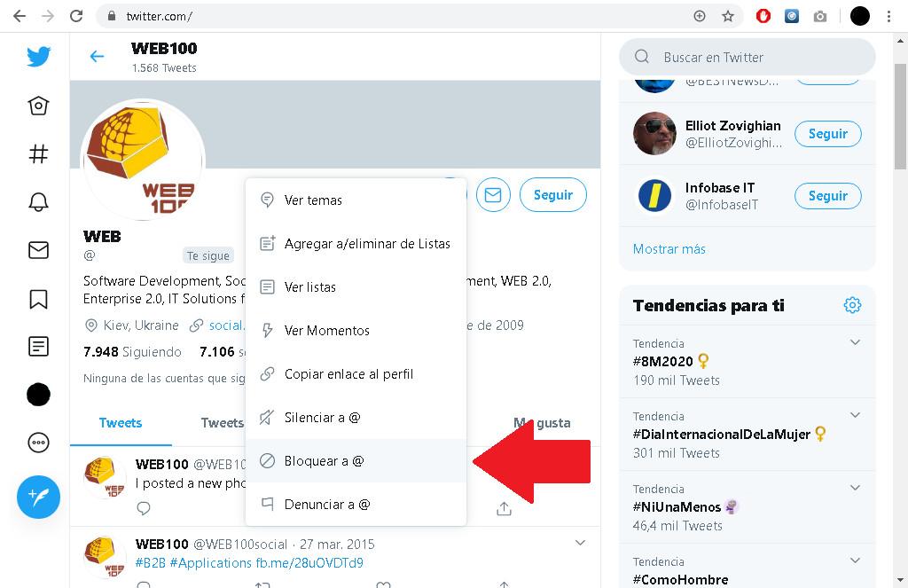 Cómo bloquear un contacto o a alguien más en twitter sin que se de cuenta