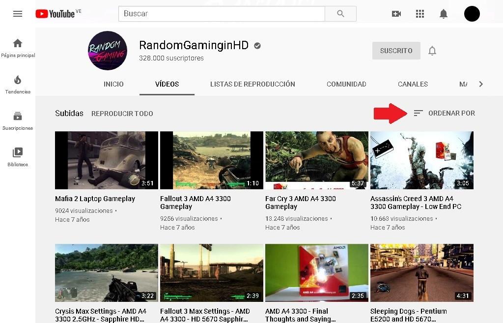 Cómo buscar videos antiguos o recientes en un Canal de Youtube
