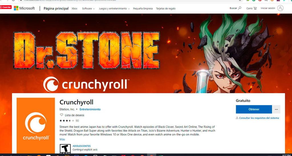 Crunchyroll desde xbox