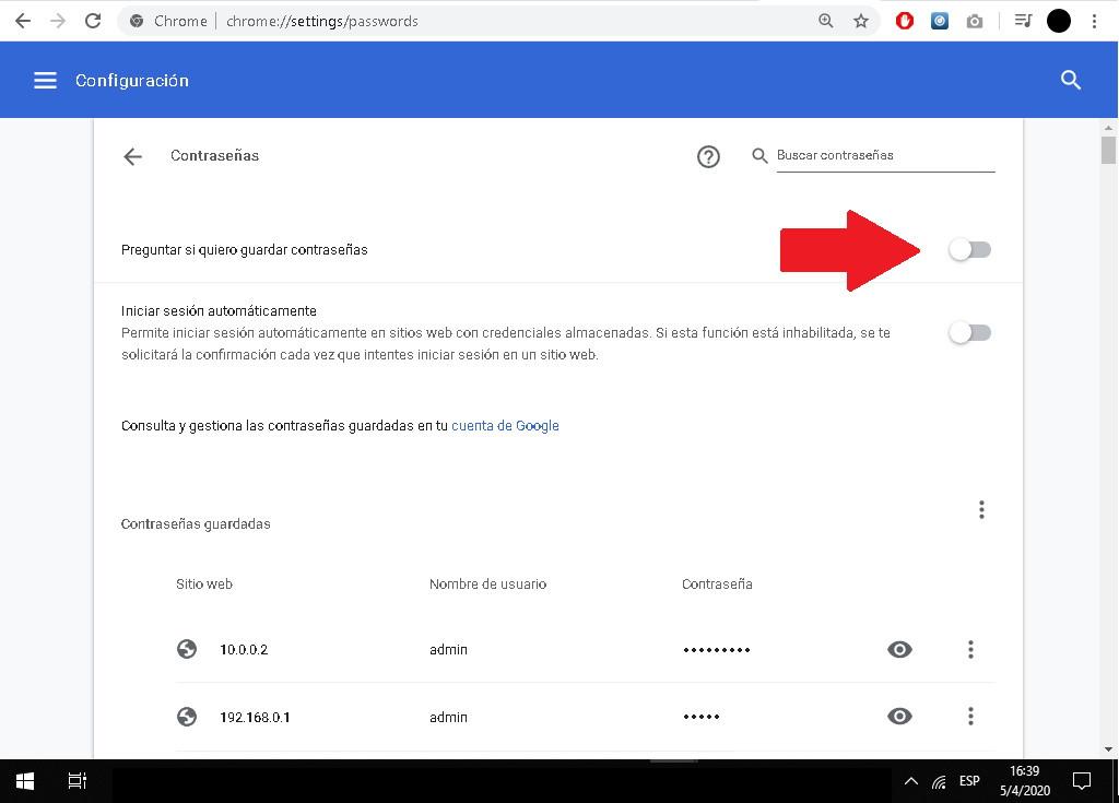 Cómo evitar que el navegador Google Chrome guarde las contraseñas en Windows 10