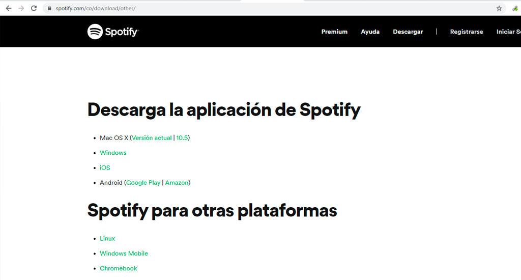 descargar spotify desde pagina oficial