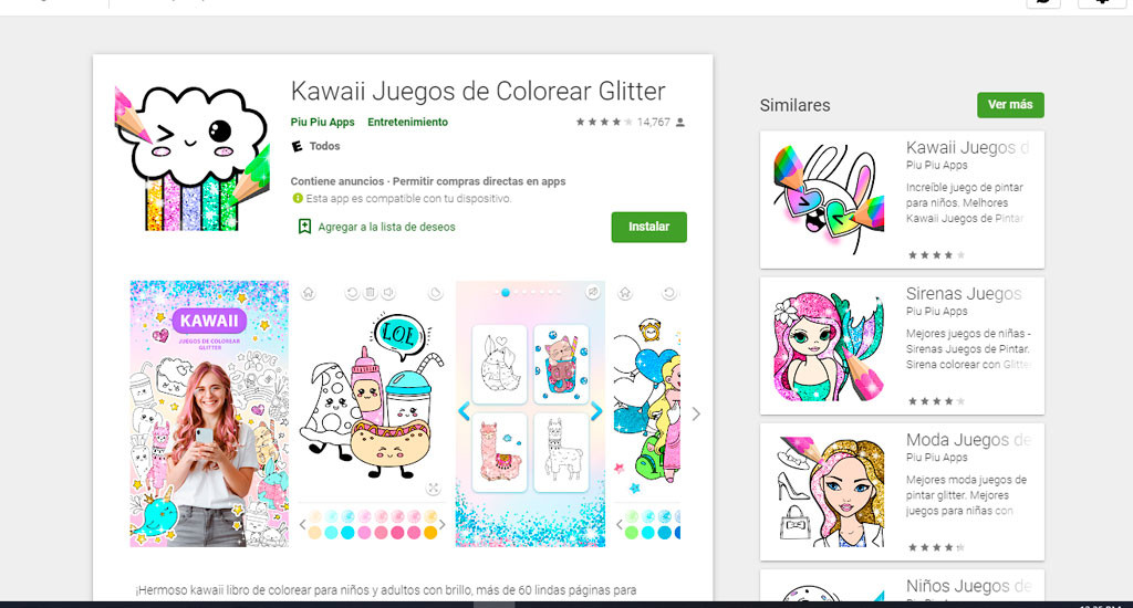 Kawaii Juegos para colorear