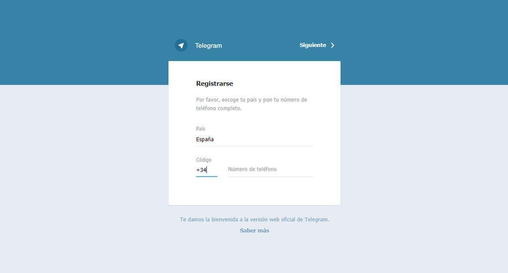 Registro en Telegram