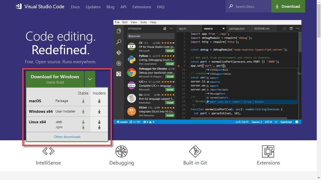 ¿Cómo descargar la versión incidir de Microsoft Visual Studio Code Online?