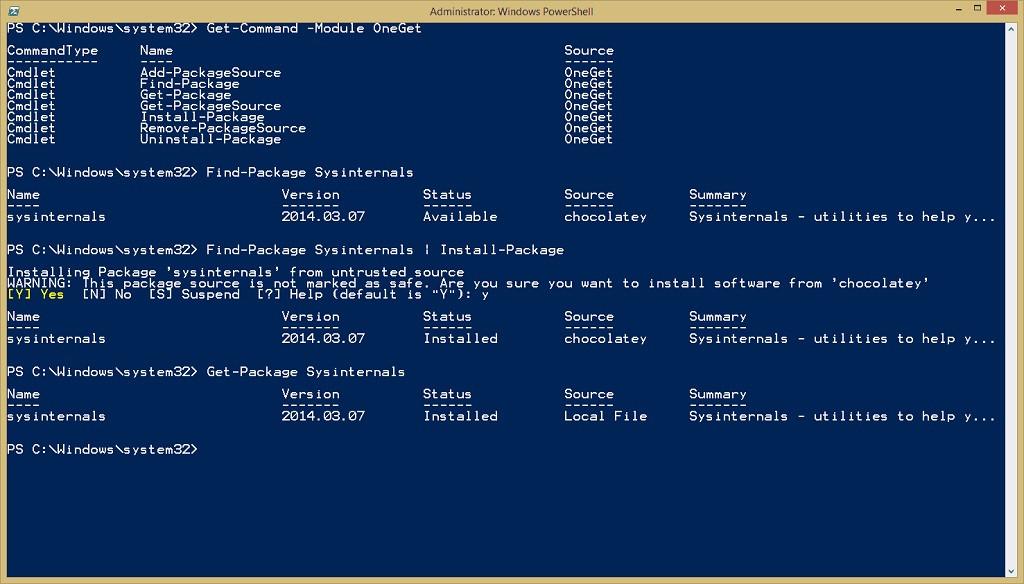Cómo descargar e instalar el gestor de paquetes OneGet en Windows 10