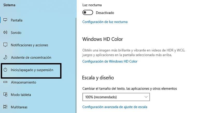 ventana de selccion de ajuste para herramienta sistema en windows 10