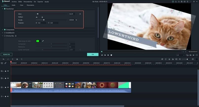 interfaz edicion video filmora