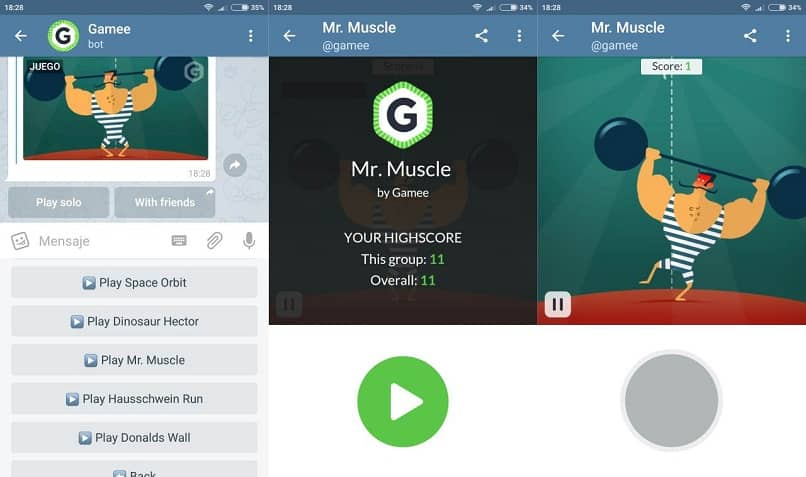 Mr. Muscle is playing on the telegram