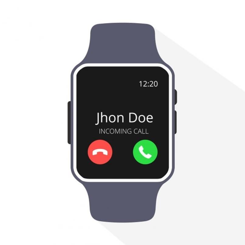 reloj inteligente recibiendo una llamada