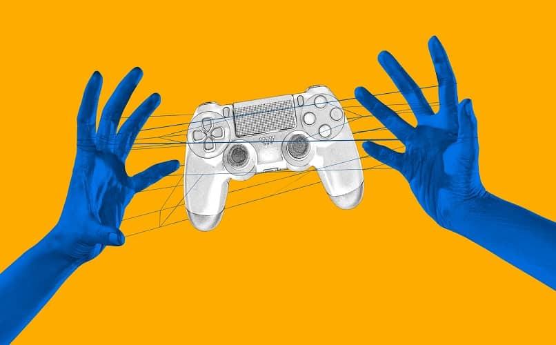 ilustracion manos sujetando mando ps4