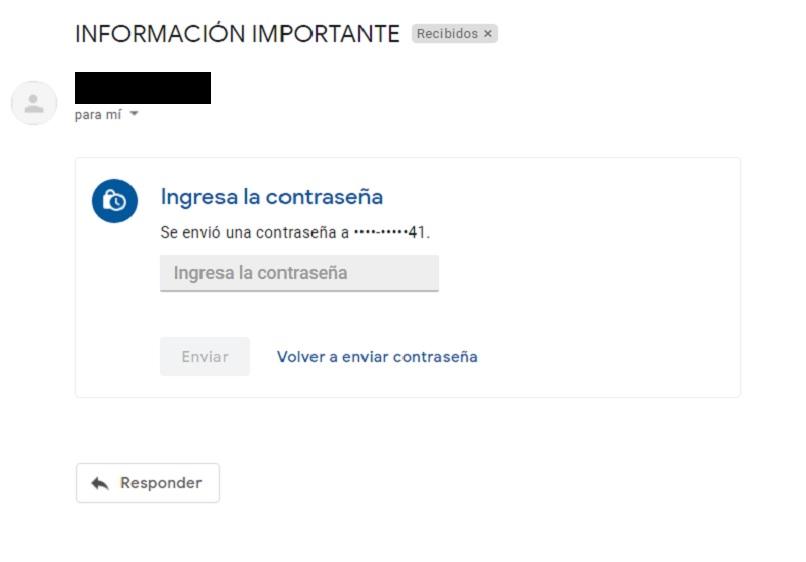 correo recibido con el modo confidencial
