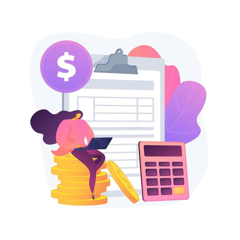 mujer realiza calculos de ganancia