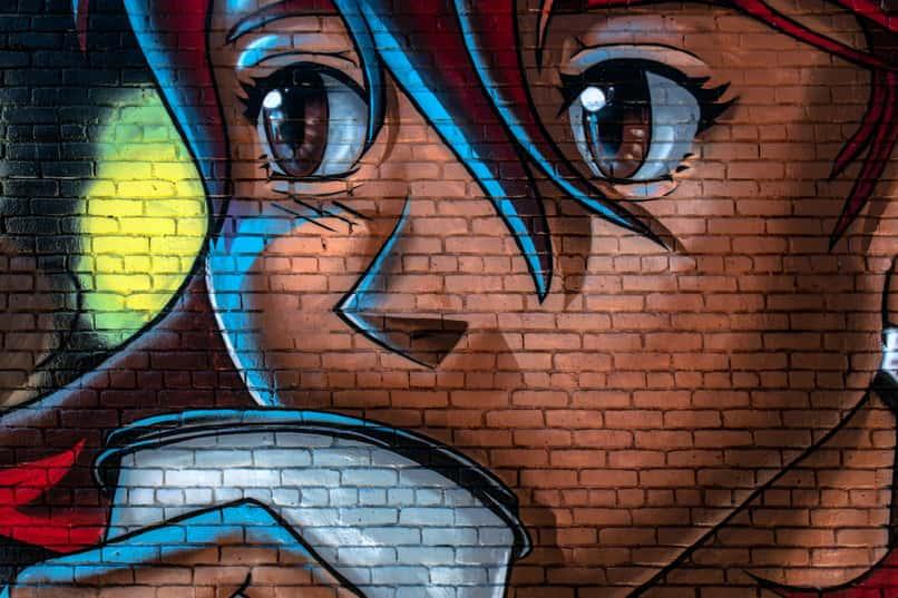 mural de anime con dibujo de aplicaciones