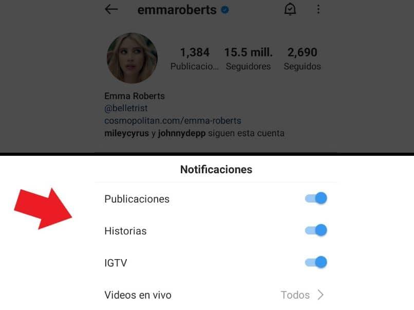 opciones de notificaciones para otra persona instagram