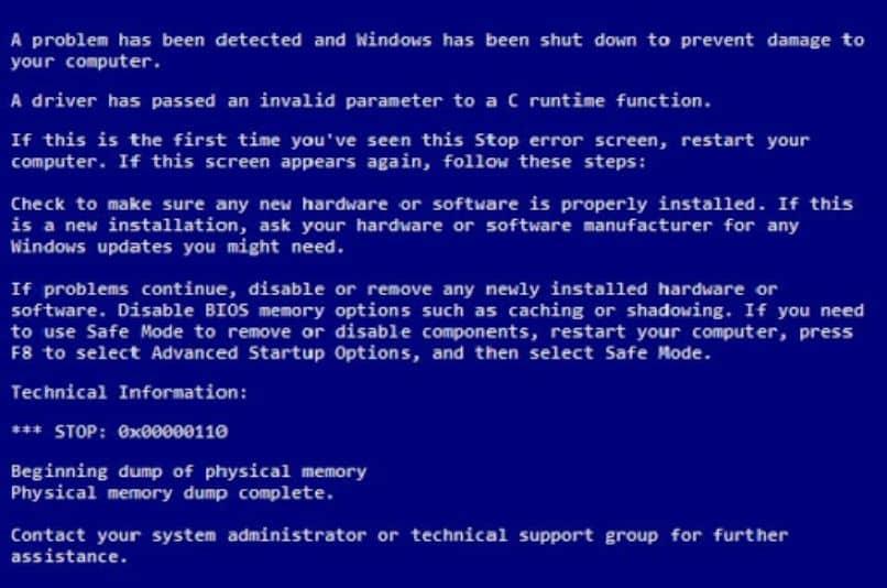 pantalla azul con letras error de windows