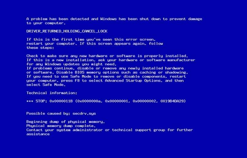 error comun de pantalla azul windows