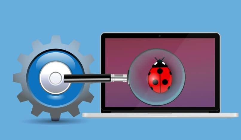 laptop encontrando y solucionando problemas