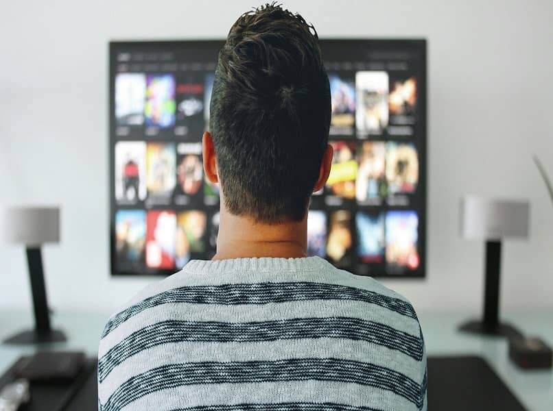 vista de persona de espalda mirando tv